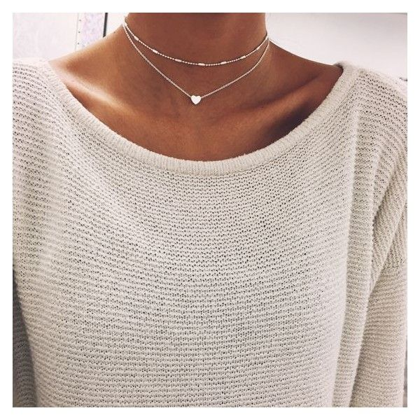 Silver Heart Chain Choker ❤ liked on Polyvore featuring jewelry, necklaces, silver heart necklace, chain necklaces, silver choker necklace, layered necklace and silver charm necklace