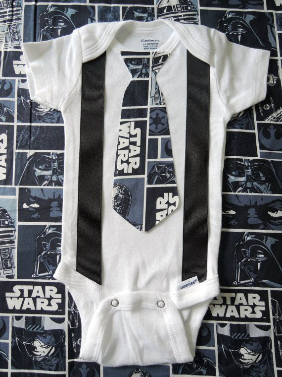Star Wars Inspired Baby Bodysuit with Tie & Suspenders - Perfect Cake Smash Outfit $8.00