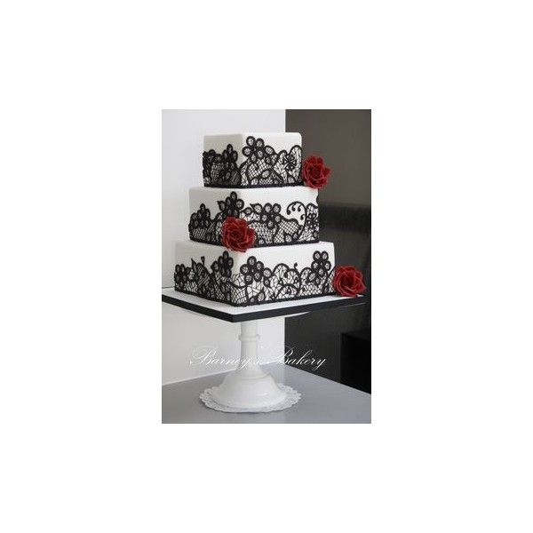 Square Wedding Cakes ❤ liked on Polyvore featuring home, kitchen & dining, flatware, cakes, wedding, wedding silverware, cake utensils, black flatware, black silverware and wedding cake utensils