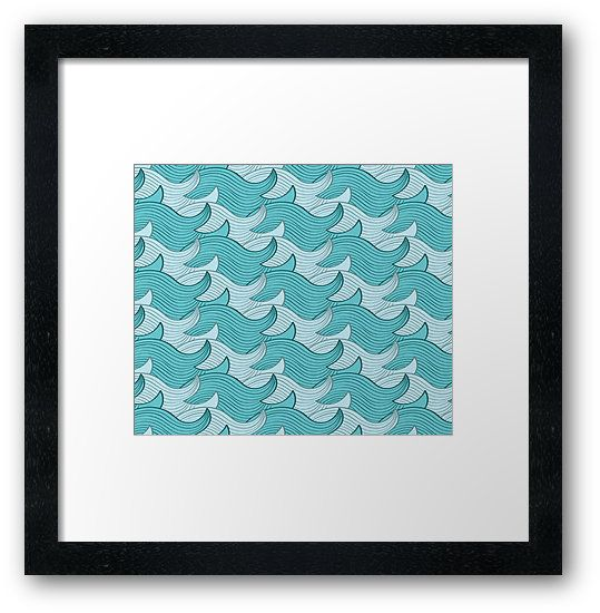 California Surf Wave Pattern Illustration by Gordon White | California Surf Black Framed Print Available in Small @redbubble --------------------------- #redbubble #stickers #california #losangeles #la #surf #wave #cute #adorable #pattern #frame #print #framedprint #wallart