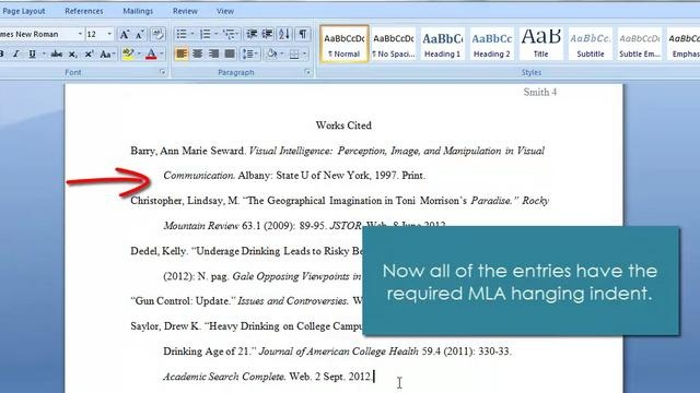 ms word  hanging indents