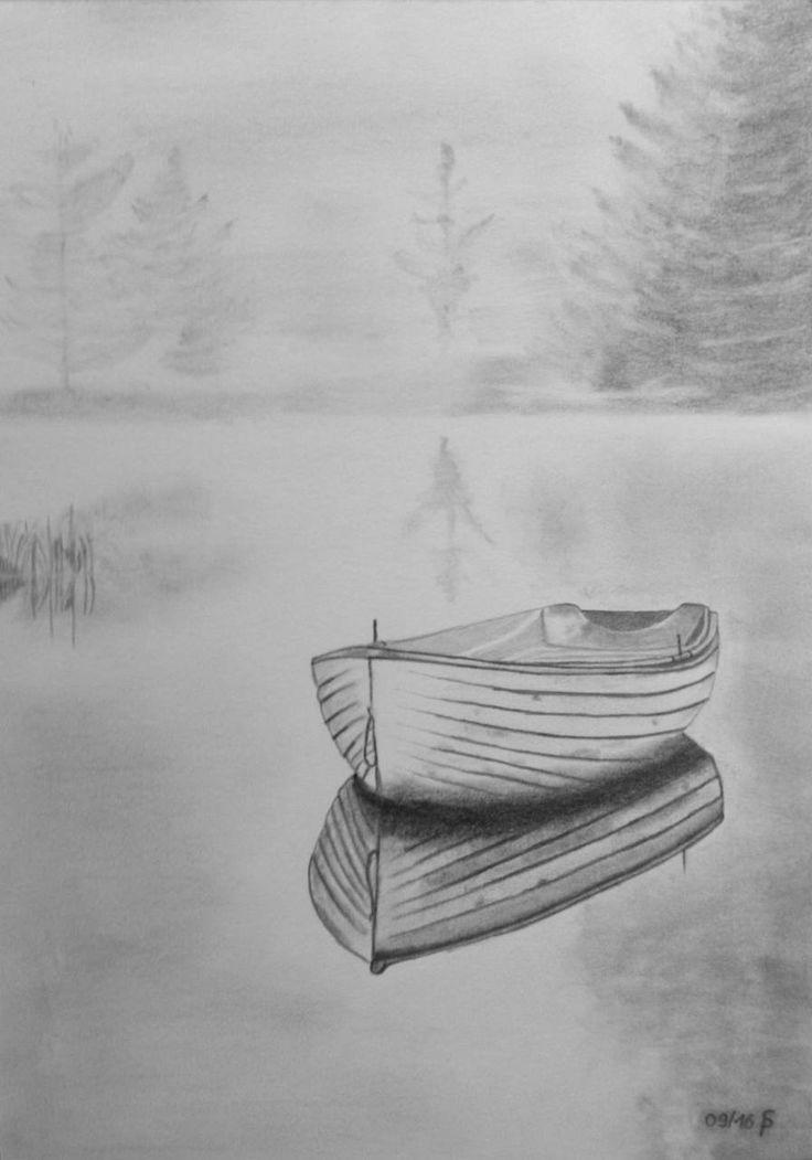 лодка картинка карандашом время