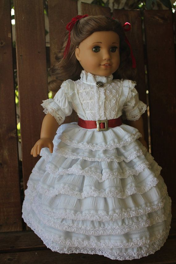 """This brings back memories -- """"Lee"""" had the Madame Alexander version of this dress when we were kids.  Scarlett O'Hara's white ruffle day dress for 18in by bobbyjosue"""