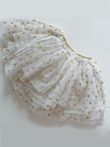 Glitz Stars tutu skirt for Girls Gold stars on white tulle
