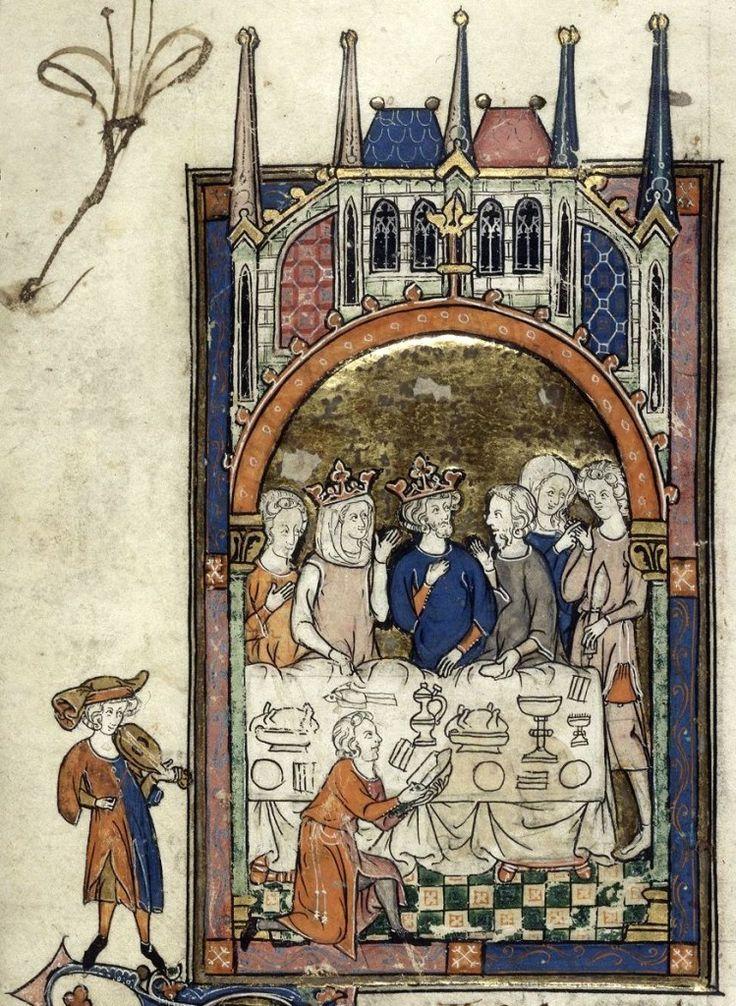 """""""Il banchetto di Re Artù"""", miniatura tratta da 'La Queste del Saint Graal' (1300-1315), British Library, Londra."""