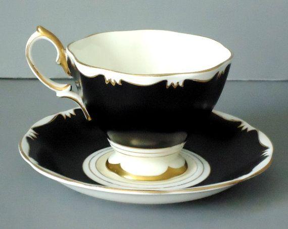 Vintage Royal Albert Black & White (no flowers) Teacup and Saucer