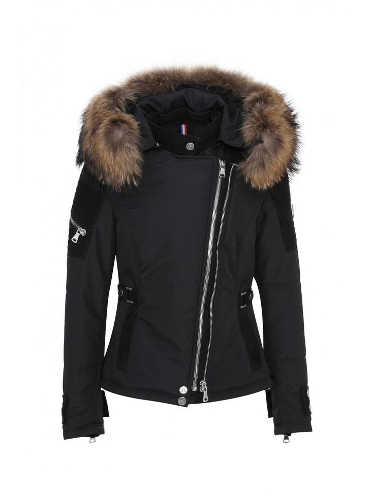Doudoune Horspist pour Femme en cuir et tissu, modèle Milano Bis Daim noir