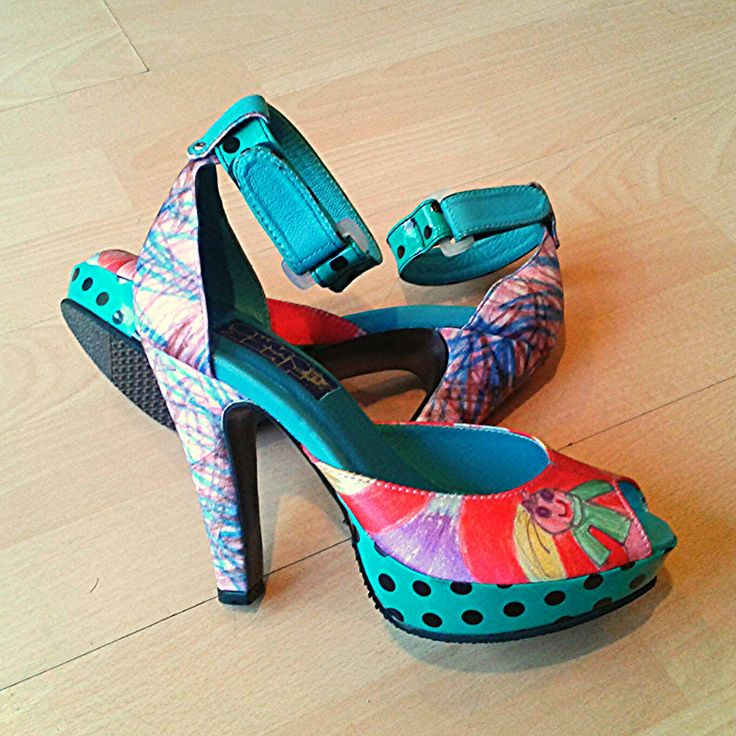 "Stamped ""missmatch"" sandals. Custom made."