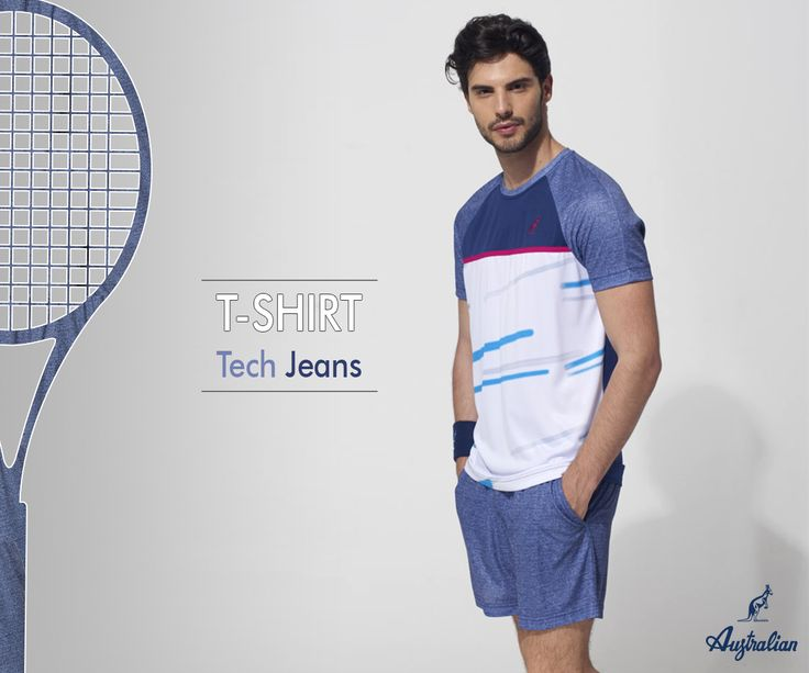 A new trend drives tennis lovers to future challenges, #Jeans! A modern texture in a timeless sport, come and discover our new Player line, avalaible in our store.  #Australian #menswear #tenniswear #sportswear #men #racket #wearing #newcollection  #2017 #training #play #player