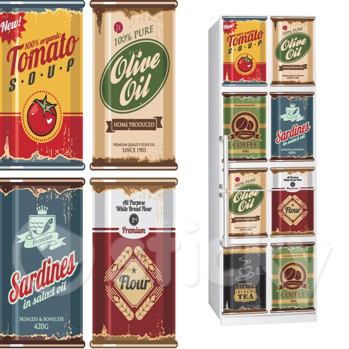 Fabric Fridgy Sticker RETRO FOOD CANS by Sticky!!!
