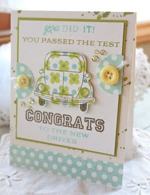 What a cute little card made for passing the driving test to get your license.