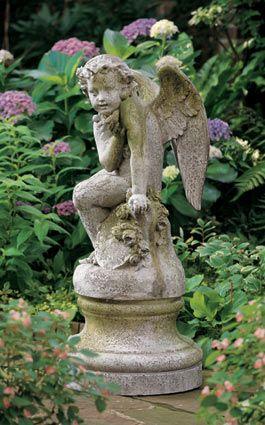 Beautiful Charelston Garden Statue Cherub With Bird Statue
