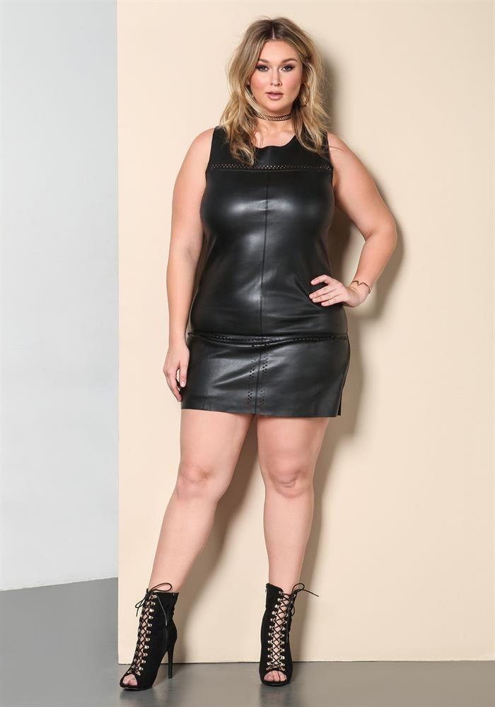 Plus Size Clothing Plus Size Leatherette Bodycon Dress