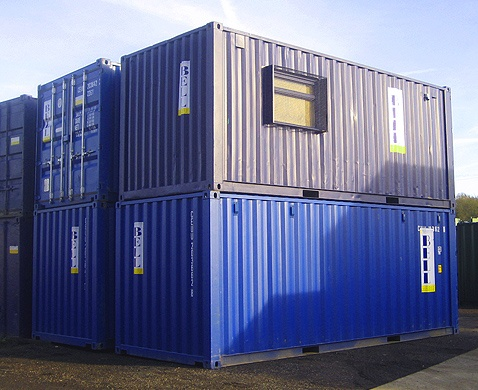 blue 20ft shipping containers (office container and storage container) stacked - from container hire fleet