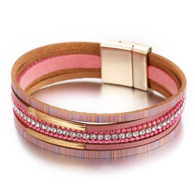 Trendy Women Alloy Multi-layer Pink Leather Bangle Charm Cuff Bracelets Jewelry
