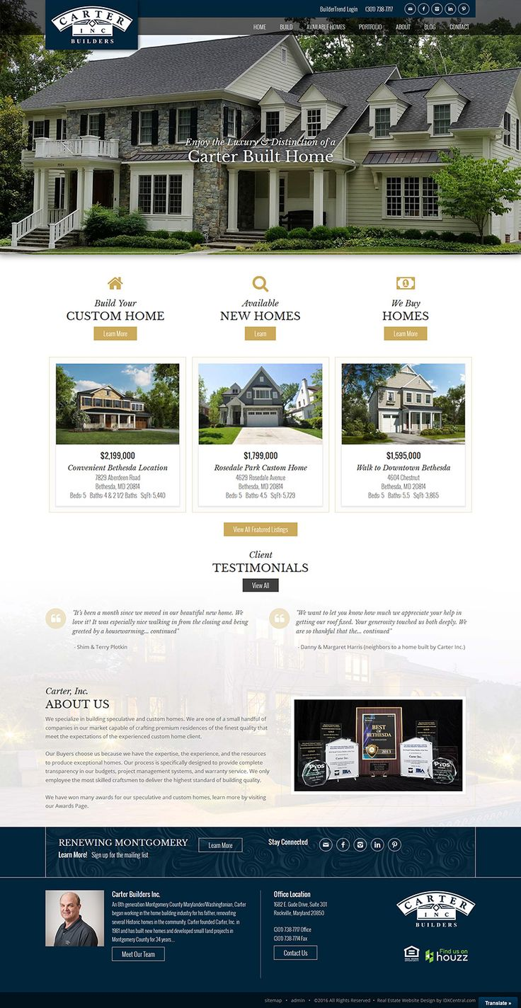 Bethesda MD Custom Home Builder. Real Estate Website Design ...