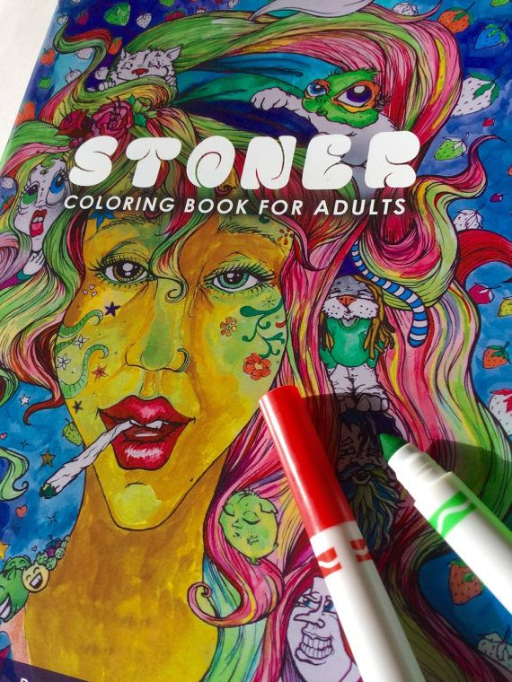 Stoner Coloring book for adults. Each one comes with a free sticker! (While supplies last)  Perfect gift for the stoner in your life.  Get lost in 28 intricate drawings filled with funky, stoner creatures!  Measures: 9x12 inches 28 pages featuring hand drawn artwork by Domė Betz  Created and printed in the U.S.A.  *Coloring supplies are NOT included.  All rights reserved.