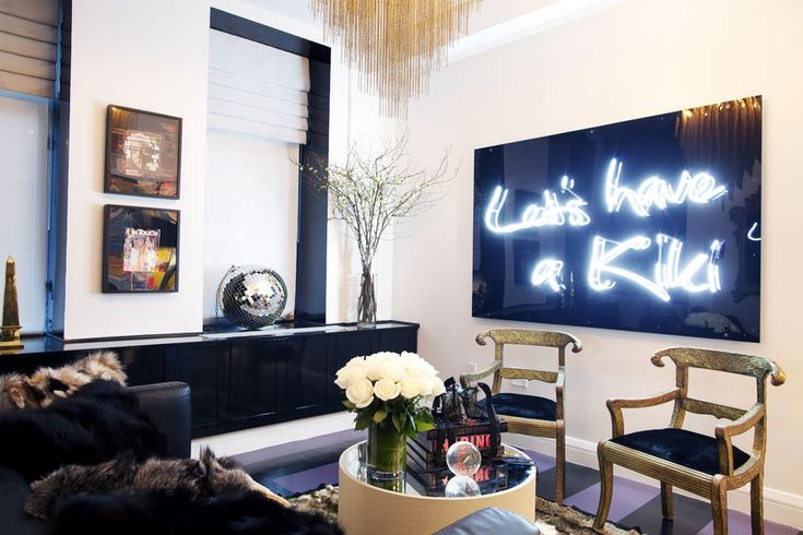 Neon art // neon signs, living room decor: Living Rooms, Neon Signs, Interiors Design, Neon Art, Apartment, New York Home, Small Spaces, Ash Nyc, Design Studios