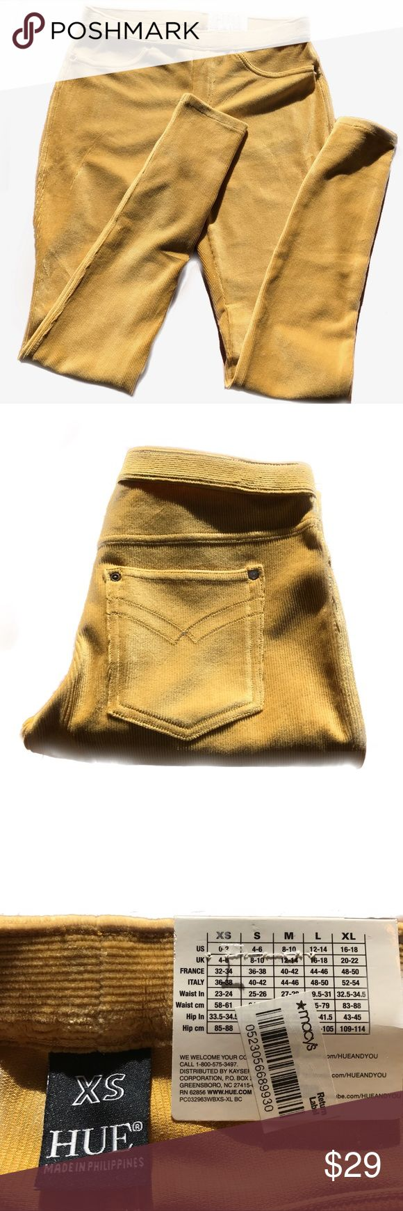 NWT Hue mustard yellow corduroy leggings New with tags, mustard yellow, corduroy leggings from HUE! Flannel is also listed for purchase. Made from 54% cotton, 42% polyester, and 4% spandex. HUE Pants Leggings