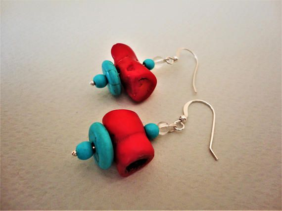 Coral Earrings with Turquoise. Coral Earrings. Howlite
