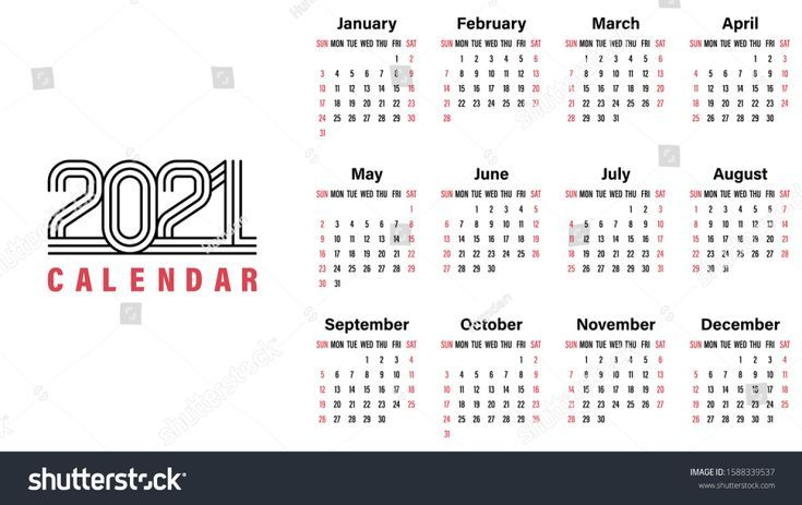 Calendario 2021 Vector in 2020 | Calendar template, Vector