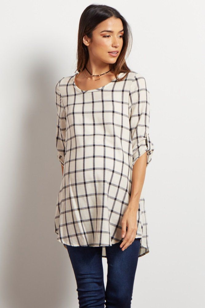 The most simply stylish look in your entire fall wardrobe, this modern plaid maternity tunic is ideal for this transition season with its lightweight fabric and classic shades. Dress it up with a statement necklace and booties for everyday.