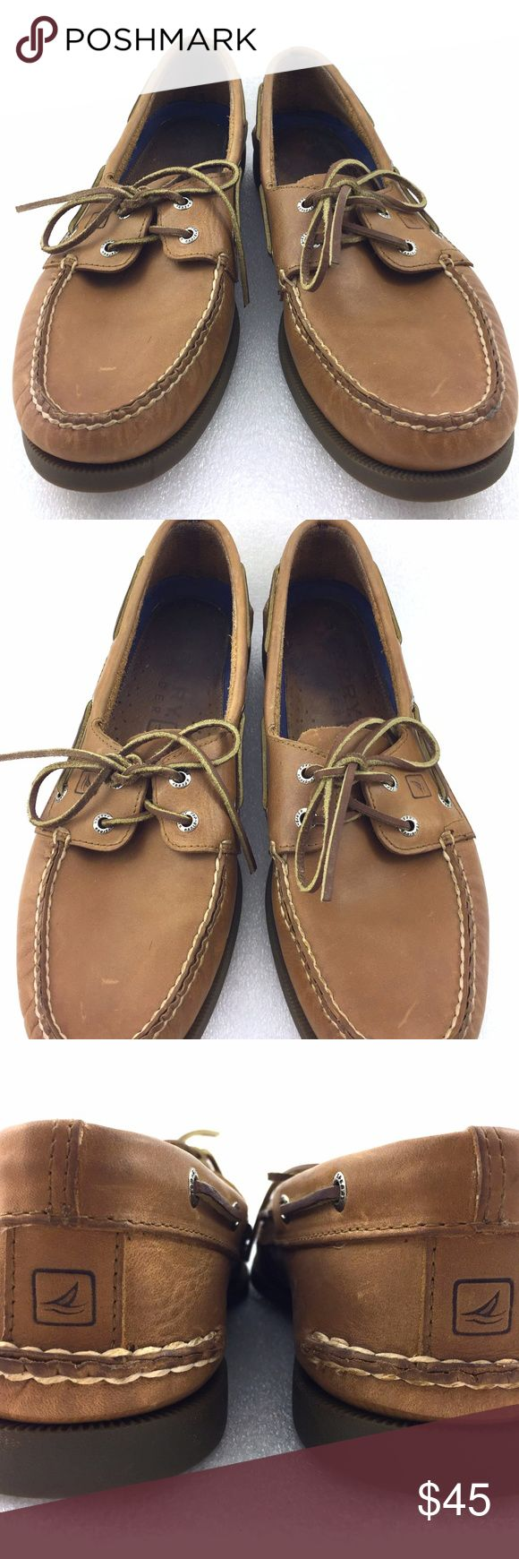 """Brown Boat Shoes Leather 10M Mens Sperry Topsider For sale is a pair of boat shoes from Sperry Topsider in brown leather  Size: 10M Length: 11.5"""" from back of heel to front of toe  Width: 4.2"""" at widest part of soles  I will ship your shoes out within 24 hours  Thank you Sperry Shoes Boat Shoes"""