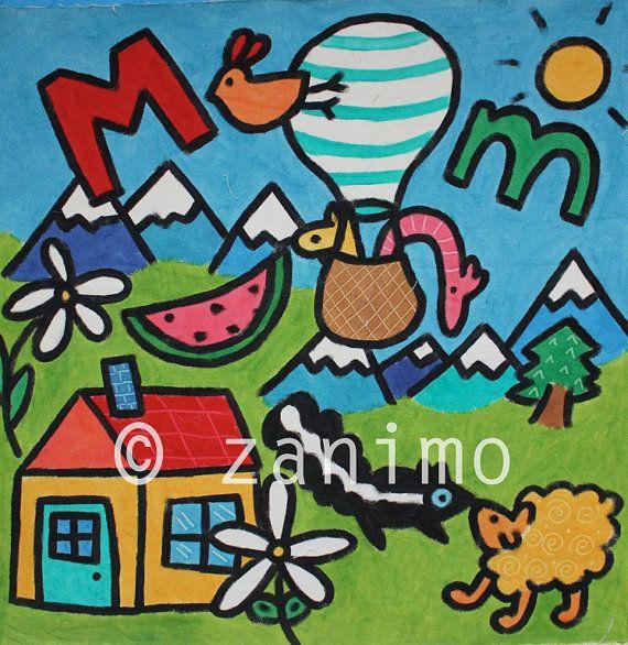 M is for mountain animals hotair balloon cute wall art by Zanimo, $15.00