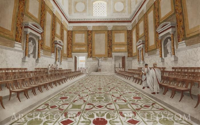 Roman Senate, 1st century BC on the Roman Forum. Illustration based on a photo taken from the entrance door of surviving structure and 1st century examples of marble panel decoration such as the Pantheon.