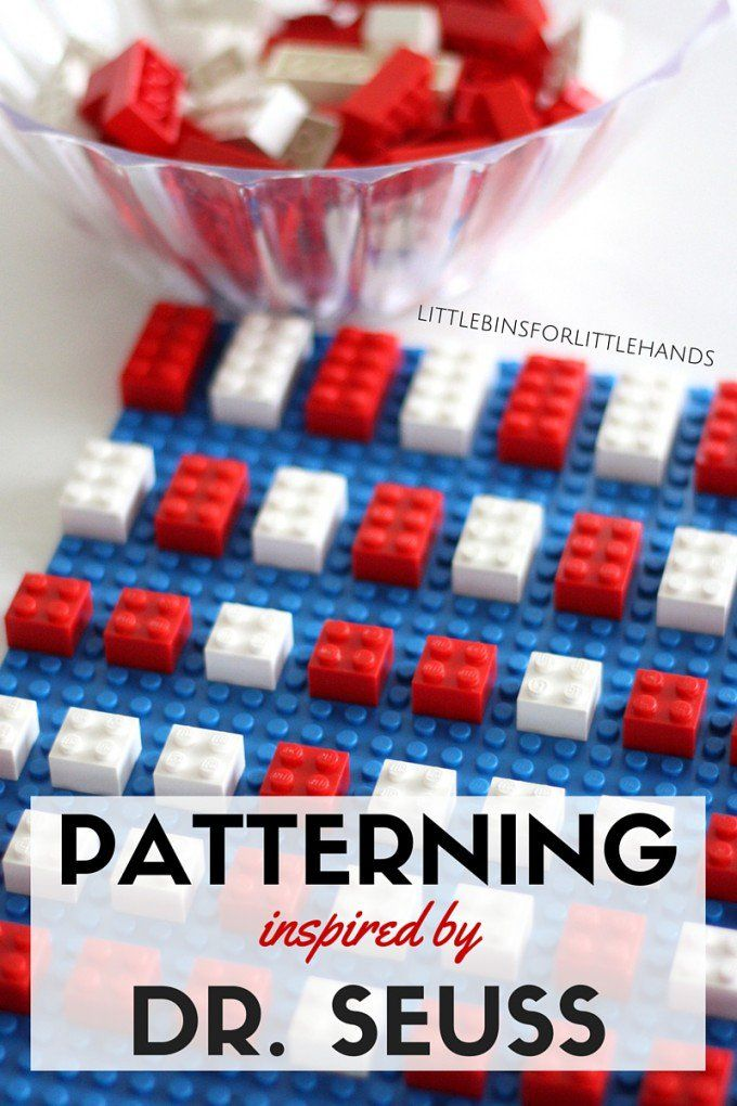 LEGO Dr Seuss Patterning Math Activity for Kids for Read Across America and Dr Seuss' birthday! Make patterns, build with LEGO, and read a classic Dr. Seuss book. A fun kids STEM activity for preschool and kindergarten age kids. Simple to set up Dr. Seuss themed activity.