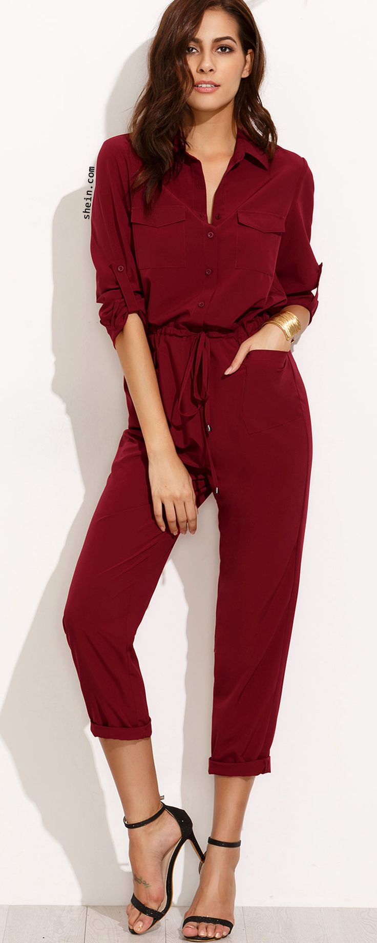 Burgundy Tie Waist Pocket Rolled Sleeve Jumpsuit