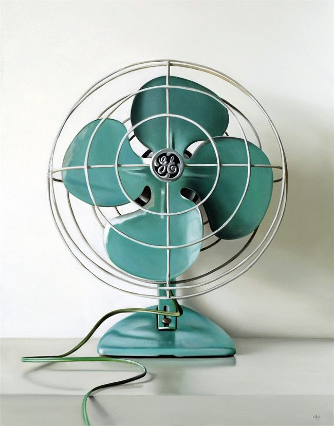 Yes, its a painting - not a photograph. Something about this still of a vintage turquoise fan puts me at ease.