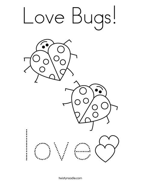 Love Bugs Coloring Page - Twisty Noodle | Bug coloring ...