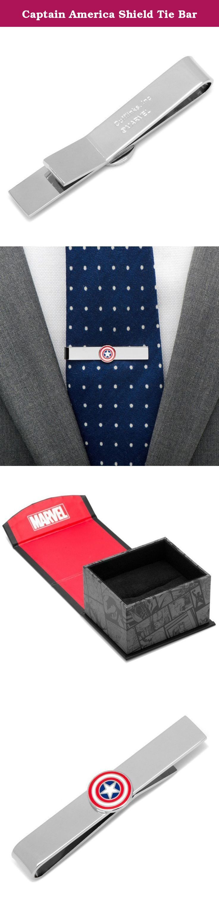 """Captain America Shield Tie Bar. Captain America Shield Tie Bar Approximately 2"""" x 1/4"""" Plated base metal with enamel Officially licensed by Marvel Fixed logo backing ."""