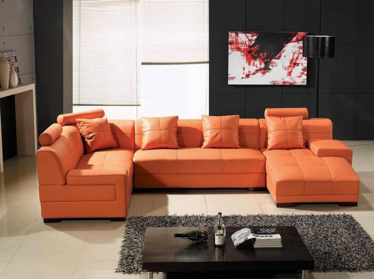 Orange Extra Soft Padded Italian Leather Sectional Sofa. Transform Your  Room Into A Chic,