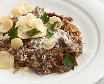 Hugh Acheson's  Anson Mills Oat Risotto with Oxtail Roasted Shallot and Parsnips
