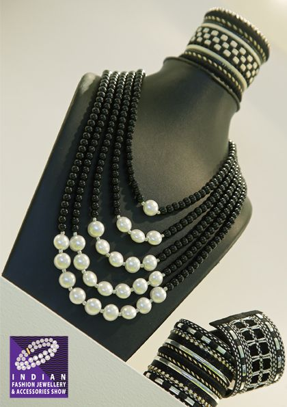 Elegance of Black & White with hints of silver in beaded assortments…and more….at The IFJAS, 2016 #fashion #jewellery #tradeshow #ifjas