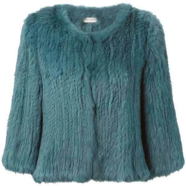 Yves Salomon Rabbit Fur Jacket ($425) ❤ liked on Polyvore featuring outerwear, jackets, blue, rabbit fur jacket, yves salomon, rabbit jacket and blue jackets
