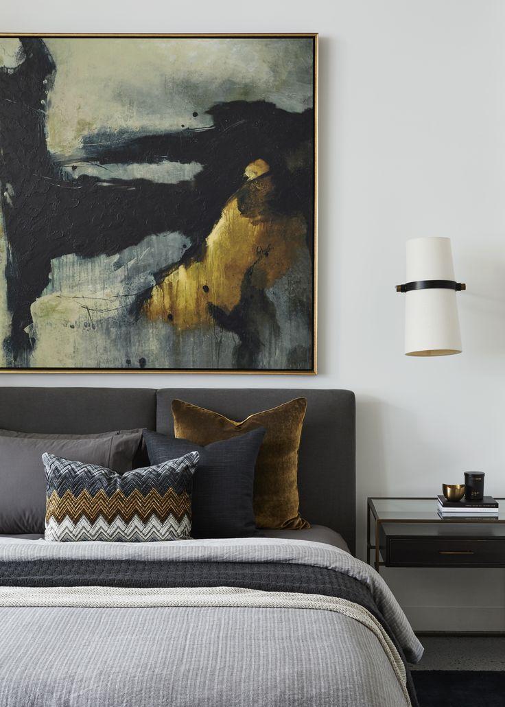 Boyd Blue Designer Artwork, Wall Pendant & Bedside Table. Custom Bed & Cushions.