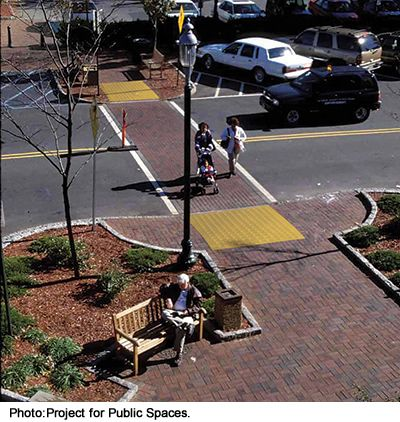 pedestrian crossing This pedestrian crossing, landscaping, and bench in South Orange, NJ, help make this a livable community.