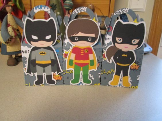 Batman Robin and Batgirl Inspired Gable Favor Boxes Set by zbrown5, $14.40
