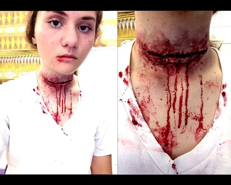 Slit throat makeup. Derma wax, stage blood, and Ben Nye creams.