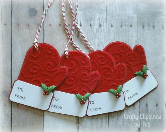 Christmas Gift Tags Santas Mittens Mitten by CraftyClippingsbyPeg
