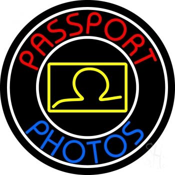 Red Passport Photos With Oval Neon Sign
