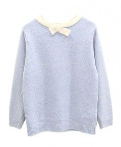 Pearls Inlaid Collar Preppy Style Pullover