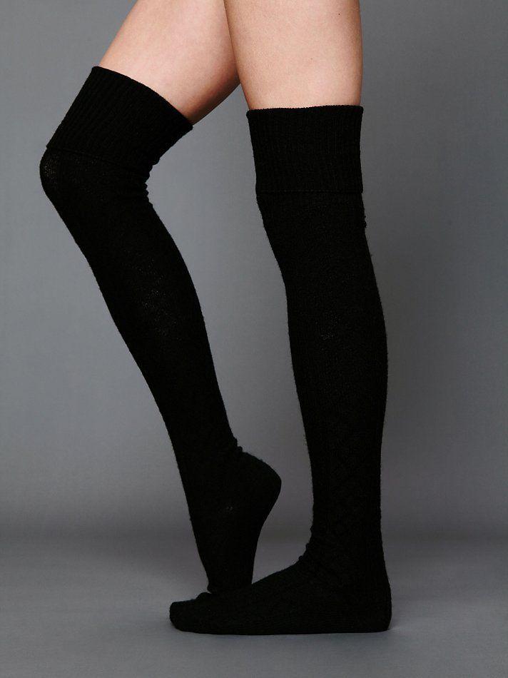 Free People Vintage Sweater Tall Sock black knee high socks