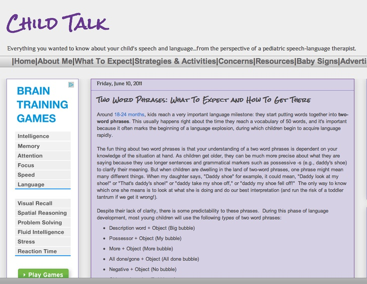 Child Talk- Friday, June 10, 2011  Two Word Phrases: What To Expect and How To Get There