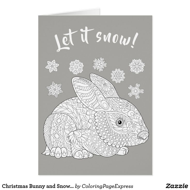 Christmas Bunny and Snow Coloring