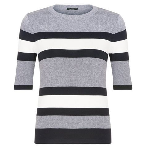 Light Grey Stripe 1/2 Sleeve Top  | New Look