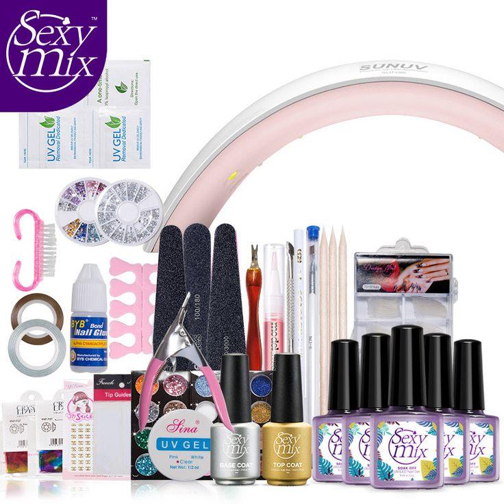 Sexy Mix  Pro Nail Art UV Gel Nail Polish Kits Tools Sets 24W UV SUN9X Nail Dryer Lamp Top Brush Tips Glue Acrylic Manicure Set #Affiliate